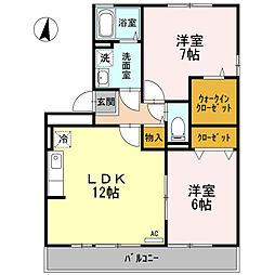 高知県高知市高そねの賃貸アパートの間取り