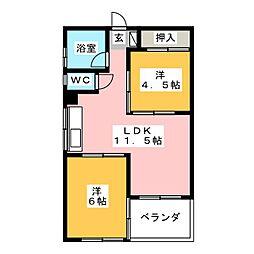 松風園ハウスA棟703号[7階]の間取り