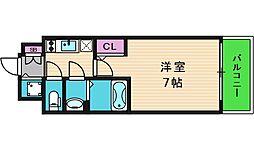 エスリード大阪上本町グリーズ 13階1Kの間取り