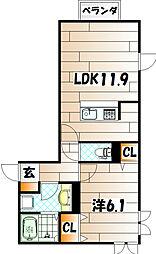 トレス苅田弐番館[2階]の間取り