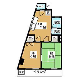 江口マンション四女子[2階]の間取り