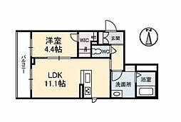 リアン勝山 3階1LDKの間取り