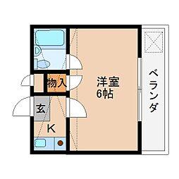 近鉄大阪線 桜井駅 徒歩10分の賃貸マンション 3階1Kの間取り