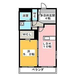 リバーサイド桜II 1階1LDKの間取り