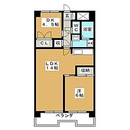 竹越ハイツ[3階]の間取り