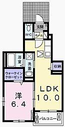 兵庫県加古川市加古川町大野の賃貸アパートの間取り