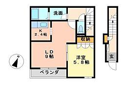 パープリッシュ桜[2階]の間取り