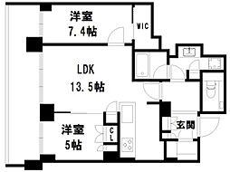 ザ・パークハウス京都鴨川御所東[4階]の間取り