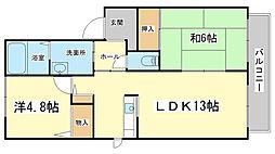 メゾンファミーユ A・B棟[2階]の間取り