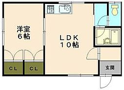 三上ハイツ3号[1階]の間取り