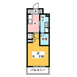 プラウドフラット木場II 15階1Kの間取り