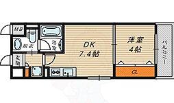 La CASA京橋 2階1DKの間取り