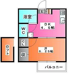 ミシマ弐番館[204号室]の間取り