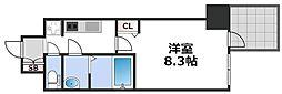 プレサンス谷町九丁目駅前 7階1Kの間取り