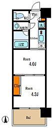 東京メトロ東西線 木場駅 徒歩5分の賃貸マンション 7階2Kの間取り
