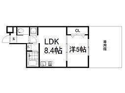 京阪本線 龍谷大前深草駅 徒歩7分の賃貸マンション 1階1LDKの間取り