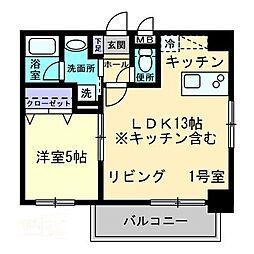ピアグロリア東古松 1階1LDKの間取り