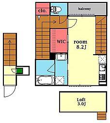 ホワイトキャッスル第1 2階ワンルームの間取り