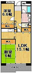 酉島リバーサイドヒルなぎさ街18号棟[6階]の間取り