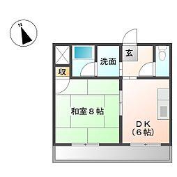 中央マンション[402号室]の間取り