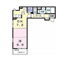 多摩都市モノレール 上北台駅 徒歩10分の賃貸アパート 1階1DKの間取り