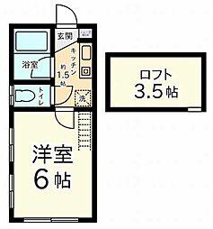 東京都板橋区小豆沢4丁目の賃貸アパートの間取り