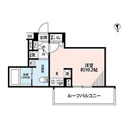 プレール・ドゥーク中野南台 4階ワンルームの間取り