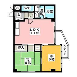 アーサー須ヶ口II[1階]の間取り