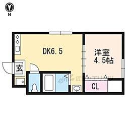 近鉄京都線 大久保駅 バス20分 イオン久御山店前下車 徒歩8分の賃貸アパート 1階1DKの間取り