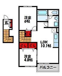 マーベラスコートS D棟[2階]の間取り