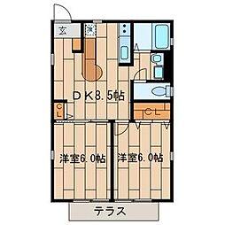 東京都板橋区南常盤台2丁目の賃貸アパートの間取り