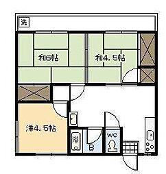 浮ノ城アパート[201号室]の間取り