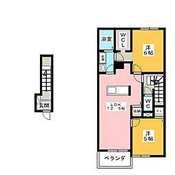 ラ・リュー B[2階]の間取り