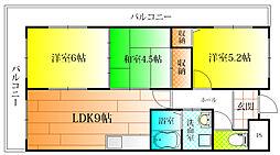 大阪府柏原市国分市場2丁目の賃貸マンションの間取り
