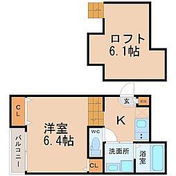 愛知県名古屋市中川区露橋町の賃貸アパートの間取り
