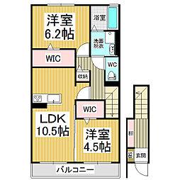 ウィズハイムコンフォート WEST[2階]の間取り