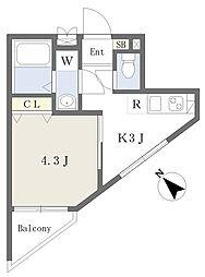 ハイホーム 4階1Kの間取り