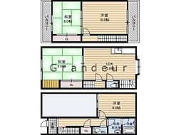 Osaka Metro長堀鶴見緑地線 蒲生四丁目駅 徒歩5分の賃貸一戸建て 1階4LDKの間取り
