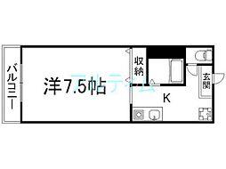 京都市営烏丸線 九条駅 徒歩5分の賃貸アパート 1階1Kの間取り