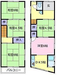 南海高野線 北野田駅 徒歩21分の賃貸一戸建て 1階5DKの間取り