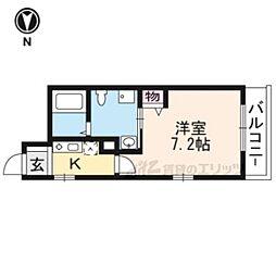 レヴィア東寺 3階1Kの間取り