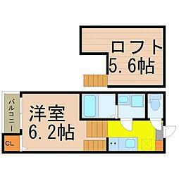 愛知県名古屋市瑞穂区駒場町4丁目の賃貸アパートの間取り