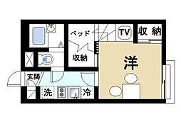 近鉄京都線 山田川駅 徒歩17分の賃貸アパート 1階1Kの間取り