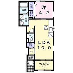 JR中央本線 塩崎駅 徒歩36分の賃貸アパート 1階1LDKの間取り