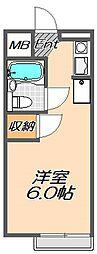 兵庫県神戸市東灘区住吉宮町7丁目の賃貸アパートの間取り