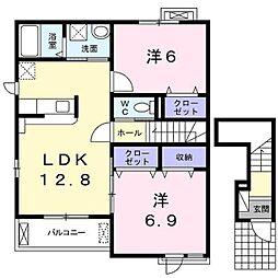 エスパスドゥレーヴ B[2階]の間取り