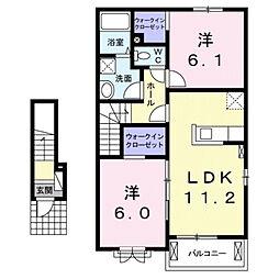 シャルム B 2階2LDKの間取り