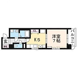 京都市営烏丸線 竹田駅 徒歩9分の賃貸マンション 6階1DKの間取り