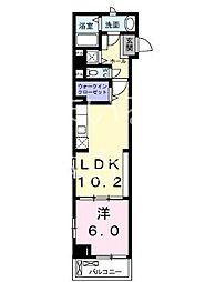 東京メトロ日比谷線 神谷町駅 徒歩2分の賃貸マンション 2階1LDKの間取り