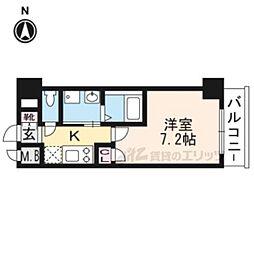 エスカーサ京都四条梅津604 6階1Kの間取り